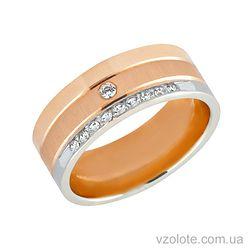 Золотое обручальное кольцо с фианитами (цирконием) (арт. 442490к)