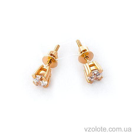 Золотые серьги-пуссеты с фианитами (арт. 110229)
