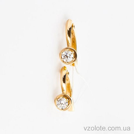 Золотые серьги с фианитами (цирконием) (арт. СВ643и)