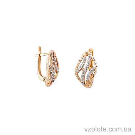 Золотые серьги с фианитом (цирконием) (арт. 211536)