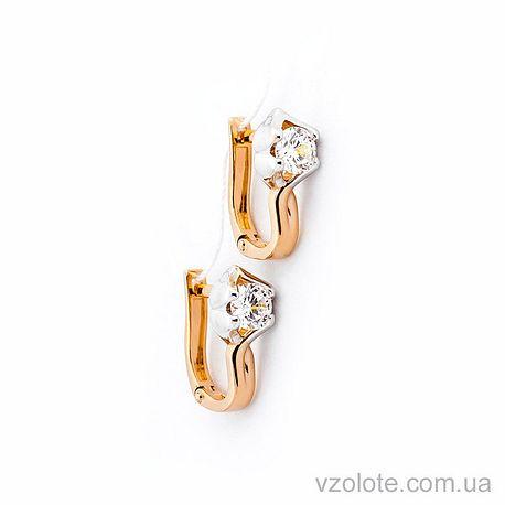 Золотые серьги с фианитами (арт. 110376)