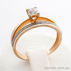 Золотое кольцо с фианитами (цирконием) (арт. 140619)