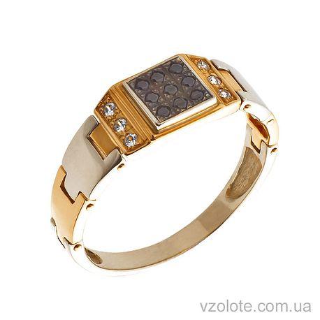 Золотая печатка с фианитом (цирконием) (арт. ПЧ032_010и)