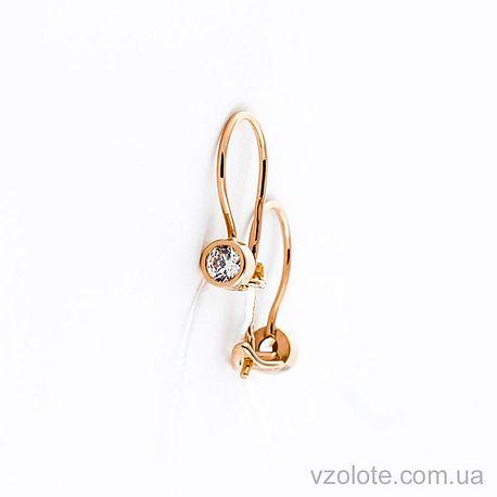 Золотые серьги с фианитом (цирконием) (арт. 470703)