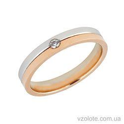 Золотое обручальное кольцо с бриллиантом (арт. 442677-1бр)