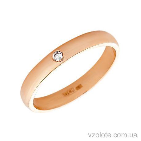 Золотое обручальное кольцо классическое с бриллиантом (арт. 1003бр)