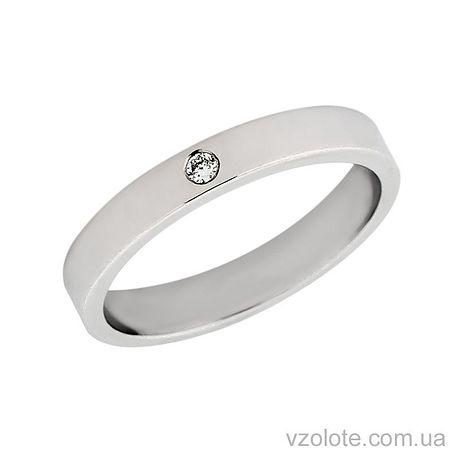 Обручальное кольцо классическое Американка из белого золота с бриллиантом (арт. 10103-1б-1бр)