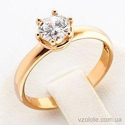 Золотое кольцо с фианитом (арт. 12363)