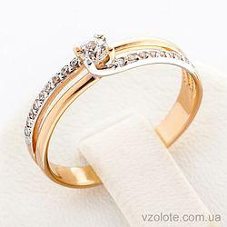 Золотое кольцо с фианитами (арт. 12478)