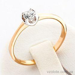 Золотое кольцо с фианитом (арт. 12113сп)