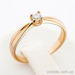 Золотое кольцо с фианитом (цирконием) (арт. 12083с)