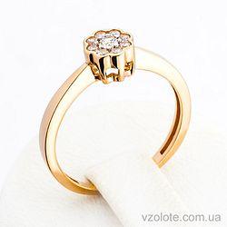 Золотое кольцо с фианитом (цирконием) (арт. 140586)