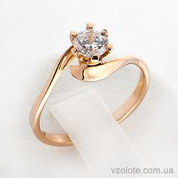 Золотое кольцо с фианитом (цирконием) (арт. кв119и)