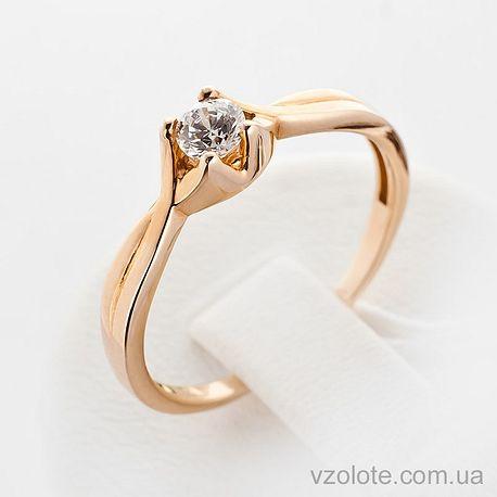 Золотое кольцо с фианитом (цирконием) (арт. 12136)