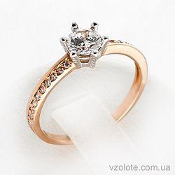 Золотое кольцо с фианитами (цирконием) (арт. 12488)