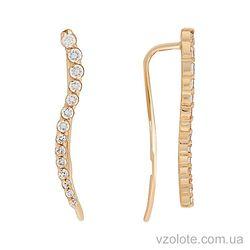 Золотые серьги с фианитами (арт. 2101391101)