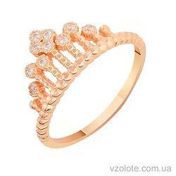Золотое кольцо с фианитами Корона (арт. 1101220101)