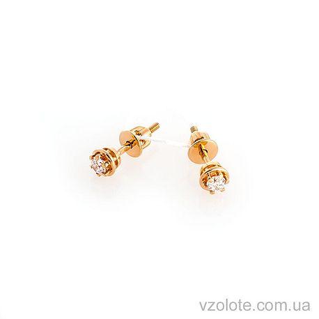 Золотые пусеты с фианитами (арт. 110405)
