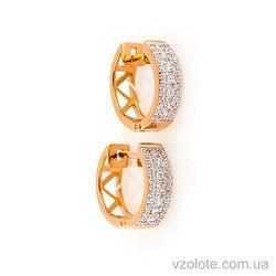 Золотые серьги с фианитами (арт. 2190539101)