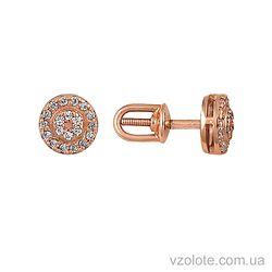 Золотые пусеты с фианитами (арт. 2100815101)