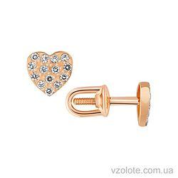 Золотые пусеты с фианитами (арт. 2100837103)