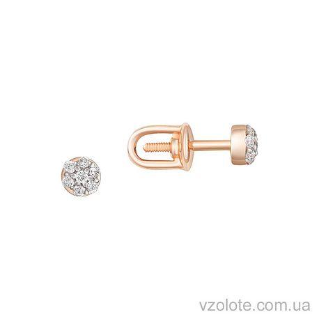 Золотые пусеты с фианитами (арт. 2100964101)
