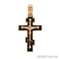 Золотой крест с эмалью и фианитами (арт. 270081е)