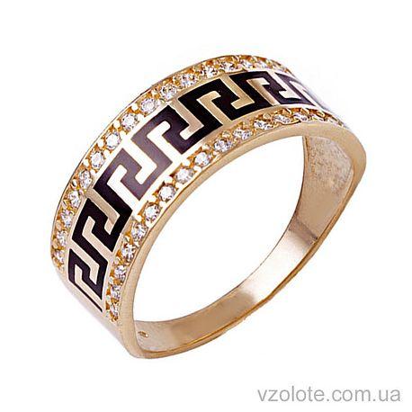 Золотое кольцо с эмалью и фианитами (арт. 380152еч)