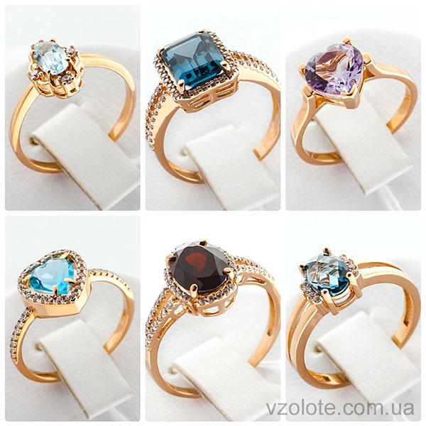 Золотые кольца - новые модели с полудрагоценными вставками