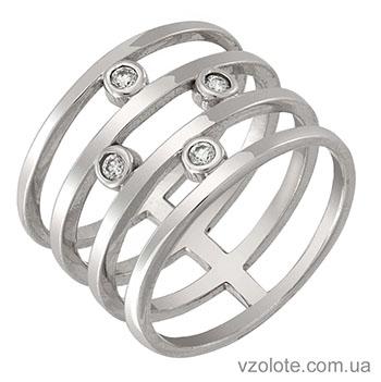 Широкое золотое кольцо с камнями