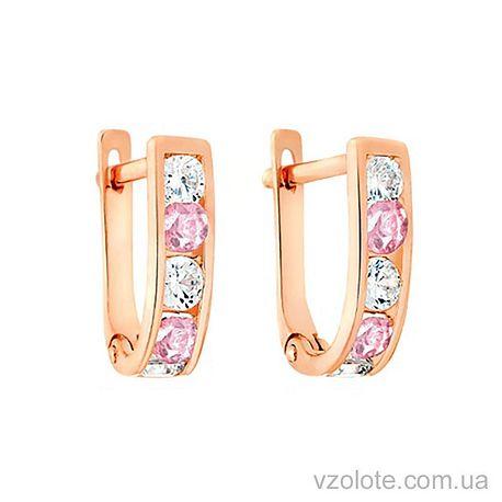 Золотые серьги с фианитами (арт. 110122р)