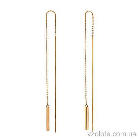 Золотые серьги-протяжки с подвесками (арт. 580087)