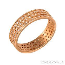 Золотое обручальное кольцо с фианитами (цирконием) (арт. 1084)