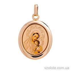 Золотая ладанка с эмалью Божья Матерь (арт. 420242)