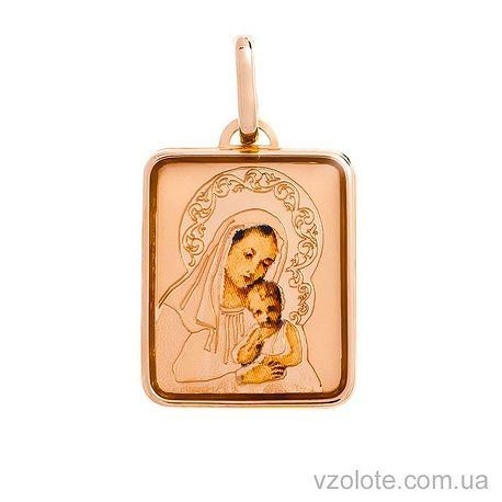 Золотая ладанка с эмалью Божья Матерь (арт. 421117)