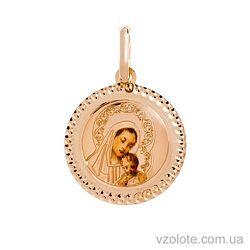 Золотая ладанка с эмалью Божья Матерь (арт. 421542)