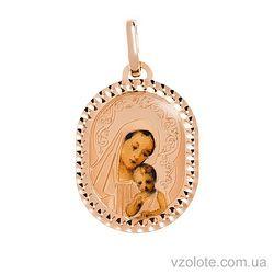 Золотая ладанка с эмалью Божья Матерь (арт. 421675)