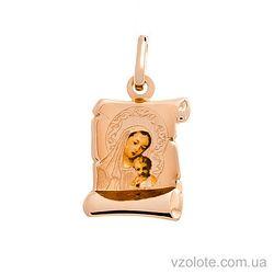 Золотая ладанка с эмалью Божья Матерь (арт. 422382)