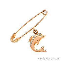 Золотая булавка с подвеской Дельфинчик (арт. 360022а)