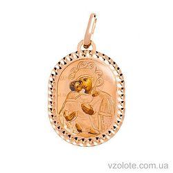Золотая ладанка с эмалью Божья Матерь Владимирская (арт. 421675В)