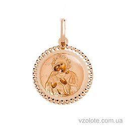 Золотая ладанка с эмалью Божья Матерь Владимирская (арт. 421542В)
