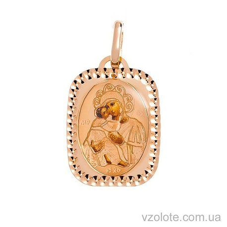 Золотая ладанка с эмалью Божья Матерь Владимирская (арт. 421540В)