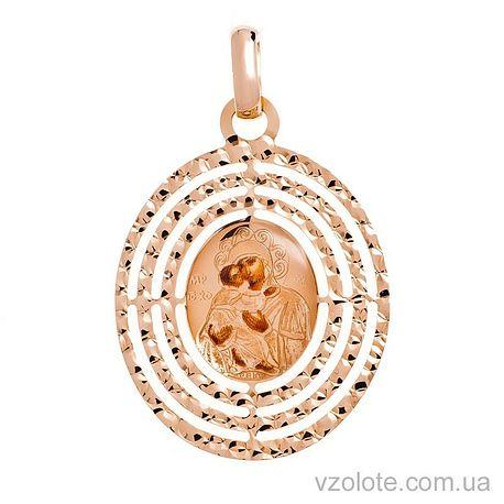 Золотая ладанка с эмалью Божья Матерь Владимирская (арт. 421270В)