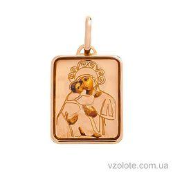 Золотая ладанка с эмалью Божья Матерь Владимирская (арт. 421117В)