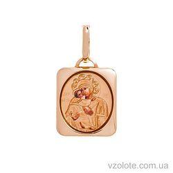 Золотая ладанка с эмалью Божья Матерь Владимирская (арт. 421085В)