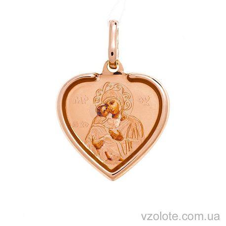 Золотая ладанка с эмалью Божья Матерь Владимирская (арт. 421057В)