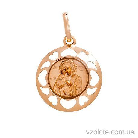 Золотая ладанка с эмалью Божья Матерь Владимирская (арт. 421055В)