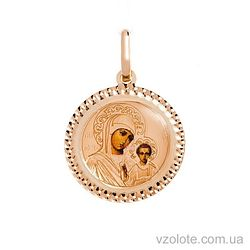 Золотая ладанка с эмалью Божья Матерь Казанская (арт. 421542К)