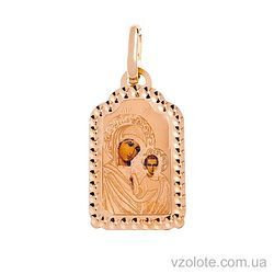 Золотая ладанка с эмалью Божья Матерь Казанская (арт. 421541К)