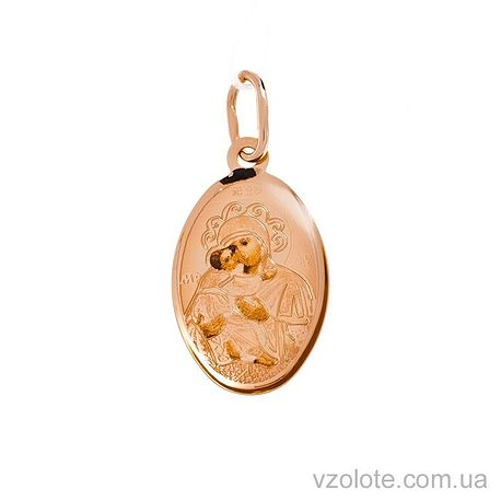 Золотая ладанка с эмалью Божья Матерь Владимирская (арт. 423258В)